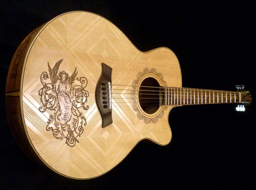 "Custom Made Blueberry ""Christian"" Motif Acoustic Guitar"