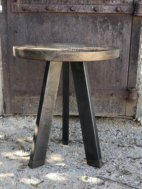 Custom Made Rustic Industrial End Table, Modern Side Table