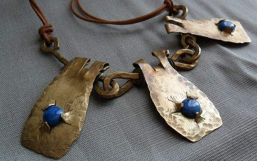 "Custom Made Three-Pendant Brass Necklace With Denim Blue Lapis Stones ""3 Little Birds''"