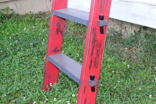 Custom Made Antiqued/Distressed Painted Solid Maple Ladder With Wedges