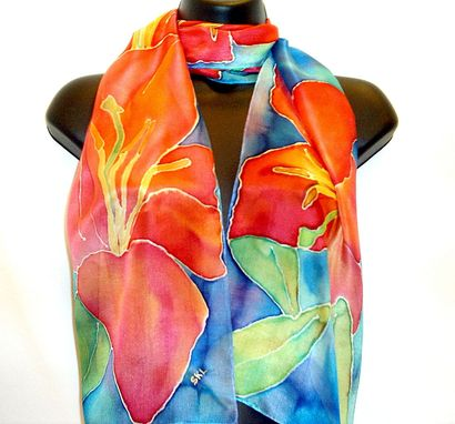 Custom Made Hand Painted Silk Tiger Lily Scarf