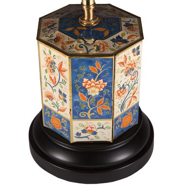 Custom Made Small Vintage Blue Floral Hexagonal Caddy Lamp