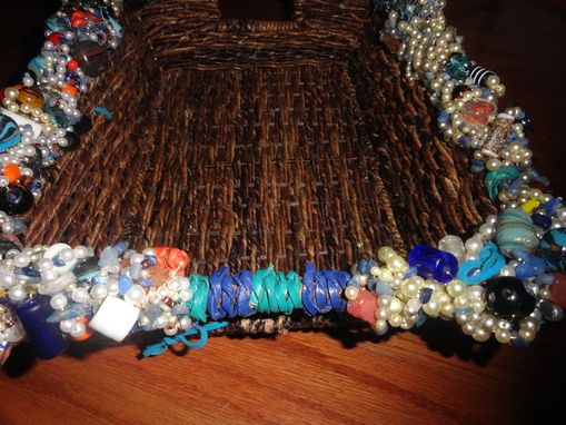 Custom Made Beaded Wicker Basket Medium Sized W/Leather Handles