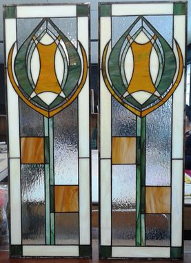 "Custom Made Stained Glass Cabinet Inserts -""Amber & Olive"" (Ci-19)"