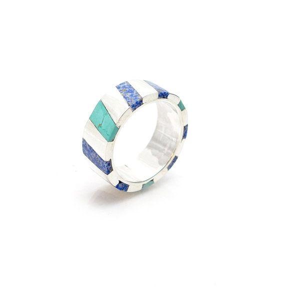 Custom Made Inlay Ring - Turquoise Inlay Ring - Lapiz Inlay Ring