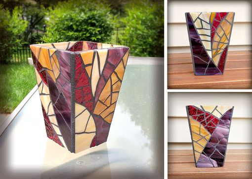 Custom Made Stained Glass Purple Vase/Candleholder