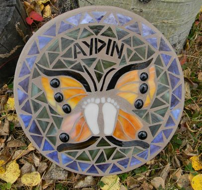 Custom Made Butterfly Mosaic Memorial Stepping Stone