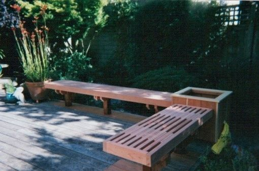 Custom Made Traditional Redwood Outdoor Patio Benches