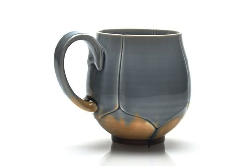Custom Made Grey And Amber Twisted Lotus Coffee Mug Or Tea Cup 12 Ounce