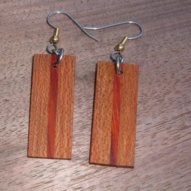 Custom Made Wood Earrings Of Hububalli And Redheart..L021