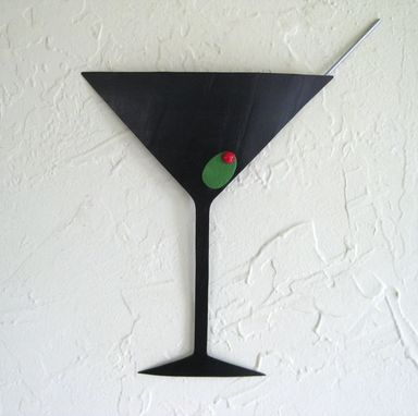 Custom Made Handmade Upcycled Metal Martini Wall Art Sculpture