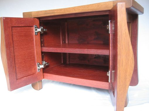 Custom Made Elf, Small Oak Cabinet Bench Recycled Wine Fermentation Tanks, Shoe Storage