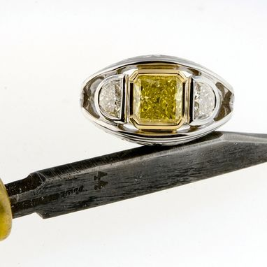 Custom Made 1.49 Carat Natural Fancy Yellow Diamond Hand Engraved Ring, 14k White Gold