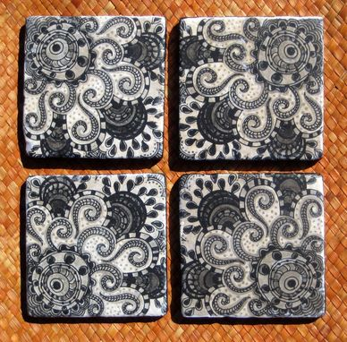 Custom Made Black And White Coasters Ethnic Design Handmade With Original Artwork-Set Of 4 Black White Grey