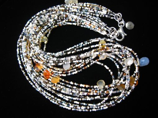 Custom Made Multistrand Seed Bead Necklaces With Gems.