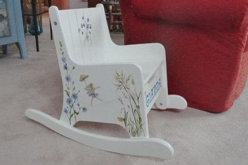 Custom Made Children's Rocking Chair Painted With Flower Fairies, Wild Flowers & Butterflies