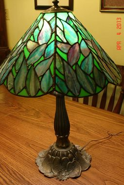 Custom Made Stained Glass Lamp In Blues Greens And Purple