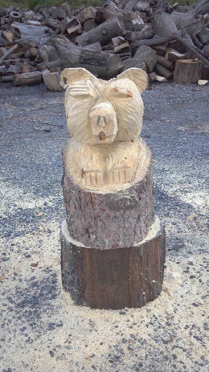 Handmade Extra Large Chainsaw Carved Natural Stump Bear By