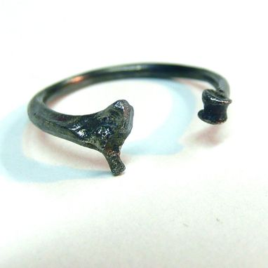 Custom Made Oxidized Sterling Silver Adjustable Rat And Snake Bone Ring Customizable