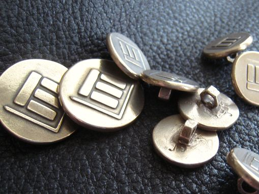 Custom Made Set Of Custom Blazer Buttons In Solid Bronze With Family Crest, Initial, Monogram, Or Custom Logo.