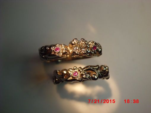 Custom Made Mto'western Wedding-Set' W/Pink Sapphires & Diamond 14k.