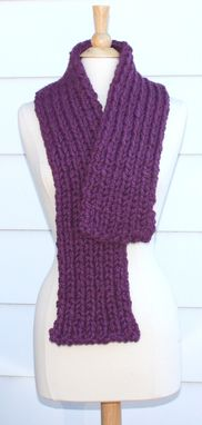 Custom Made Knitted Scarf - Soft Winter Scarf - Plum Purple - Thick Warm