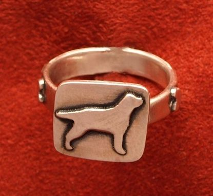 Custom Made Silver Lab Ring With Hearts On Band