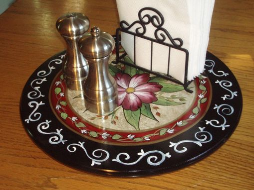 Custom Made Hand Painted Lazy Susan - 15 Inch