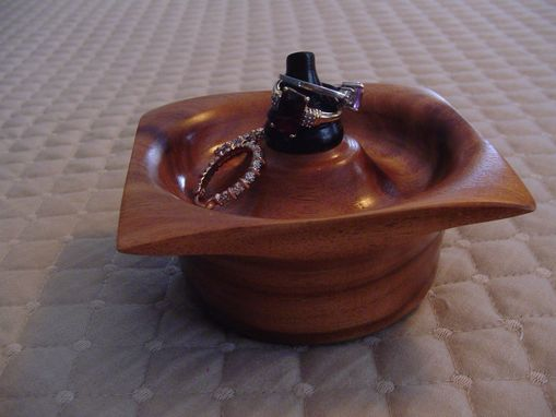 Custom Made Ring And Jewelry Bowl, Square Sided And Hand Craftedfrom Rosewood