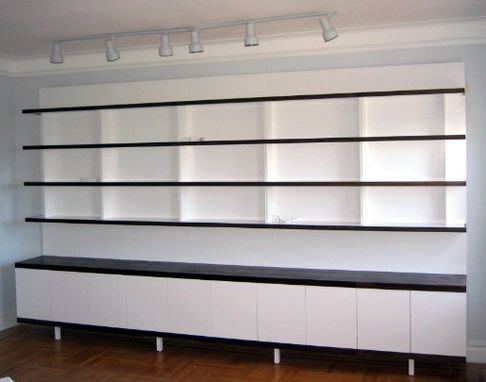 Custom Made Walnut And White Lacquer Bookcase