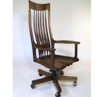Custom Made Black Walnut Swivel Chair