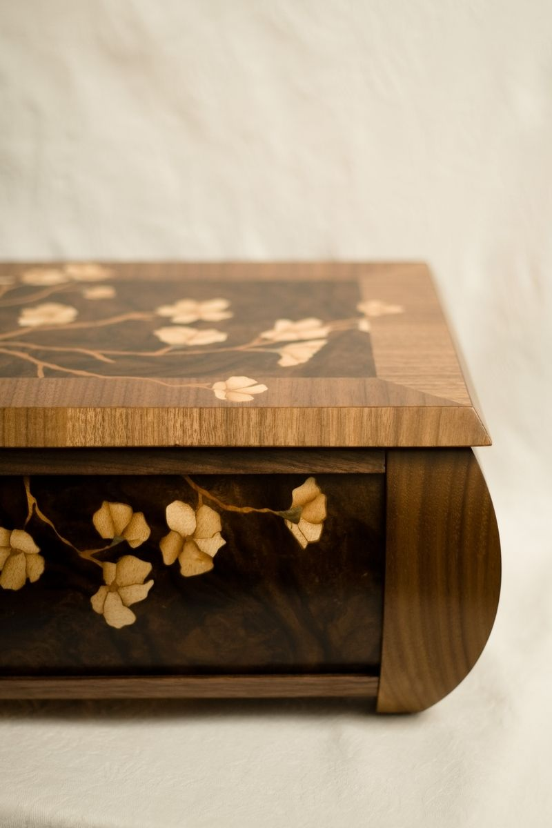 Custom Made Walnut Radius Jewelry Box With Apple Blossom
