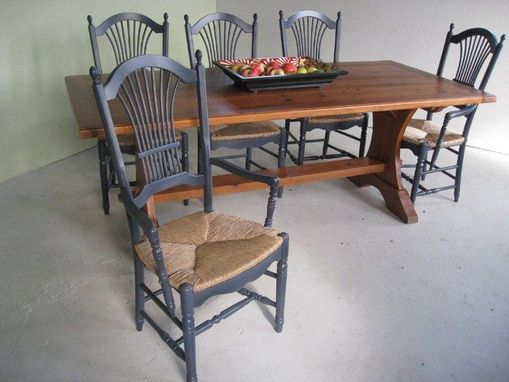 Custom Made Trestle Dining Table, Halfmoon Style