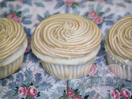 Custom Made Food Chalk Pastel Drawing, Peanut Butter Cupcakes I 2011
