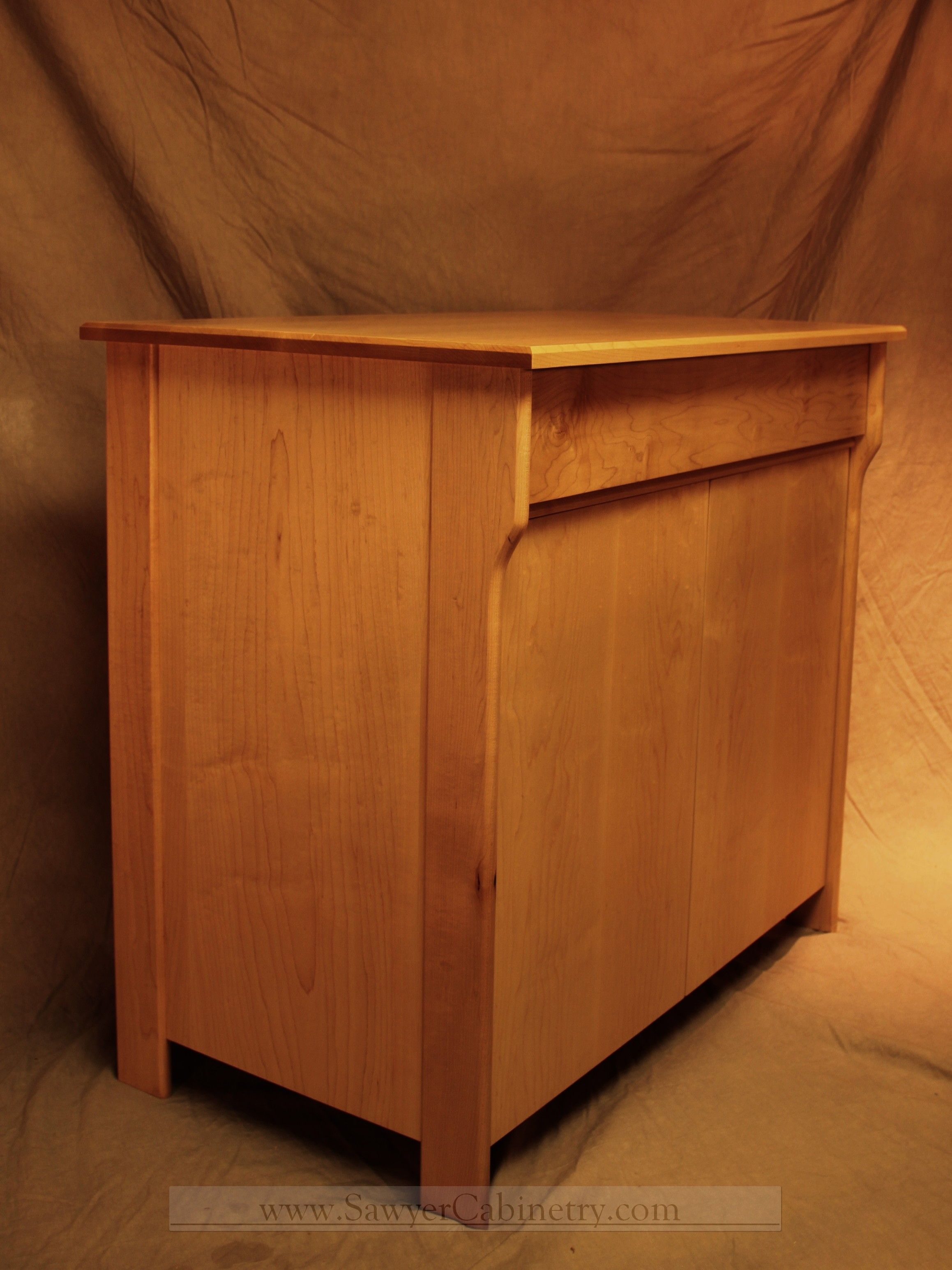 Custom Made Mid Century Modern Retro Stereo Cabinet In Maple
