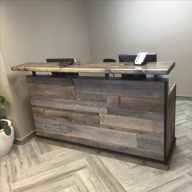 Buy A Hand Crafted Barn Wood Reception Desk Front