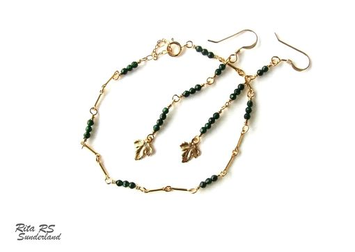 Custom Made 14k Gold Filled And Green Gemstone Earrings