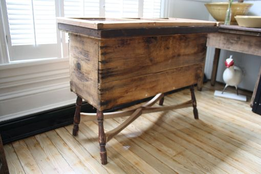 Custom Made Table Made From Reclaimed Print Maker's Draw And Antique Firewood Box
