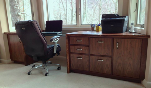 Custom Made Natural Edge Walnut Office Built-Ins