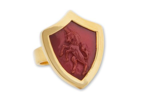 Custom Made Shield Shape Party Time Unisex Ring