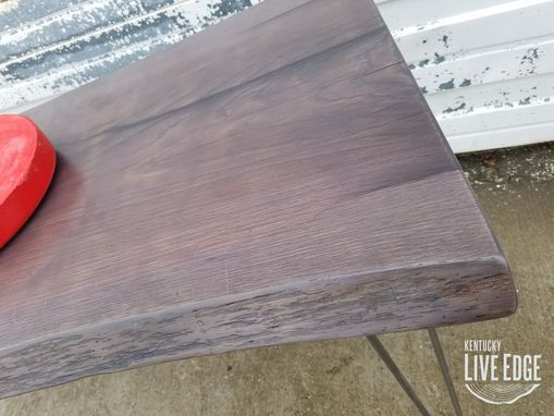Custom Made Live Edge Desk- Fumed Oak- Sofa Table- Console Table- Foyer Table- Weathered- Gray- Purple