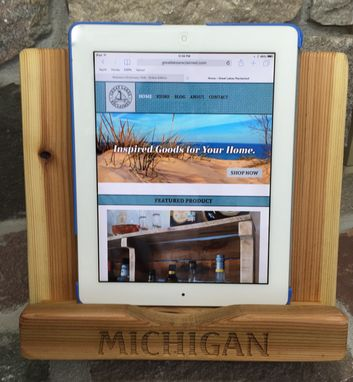 Custom Made Ipad Stand, Cookbook Holder, Laser Engraved, Personalized,  Rustic Red Cedar