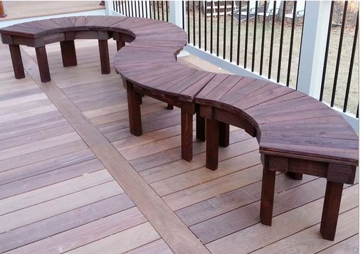Custom Made 36 Inch And 46 Inch Stained Or Natural Solid Cypress Fan Bench For Year Round Indoor Or Outdoor Use