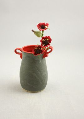 Custom Made Ceramic Flower Vase In Gray And Red