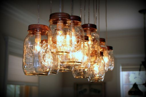 Custom Made 14 Light Mason Jar Chandelier - Rustic Cedar
