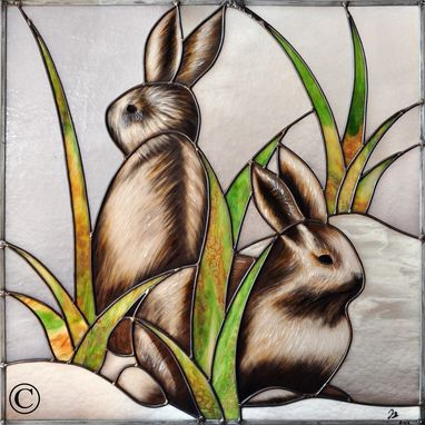 Custom Made Bunnies And Lynx Stained Glass