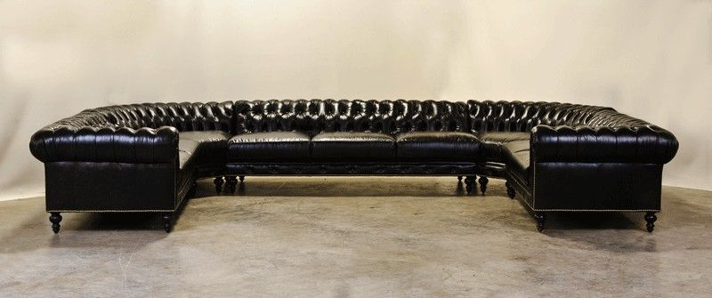 Hand Crafted Custom U Shaped Chesterfield Sectional With