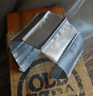 Custom Made Matte Steel Cuff Bracelet With Vertical Folds