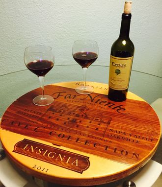 Custom Made Wine Crate Panel Lazy Susan 100% Handcrafted Napa Wines With Bearings.