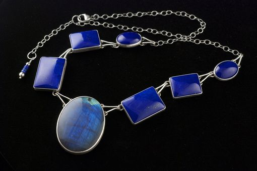 Custom Made Lapis And Spectrolite Necklace And Lapis And Labradorite Earrings